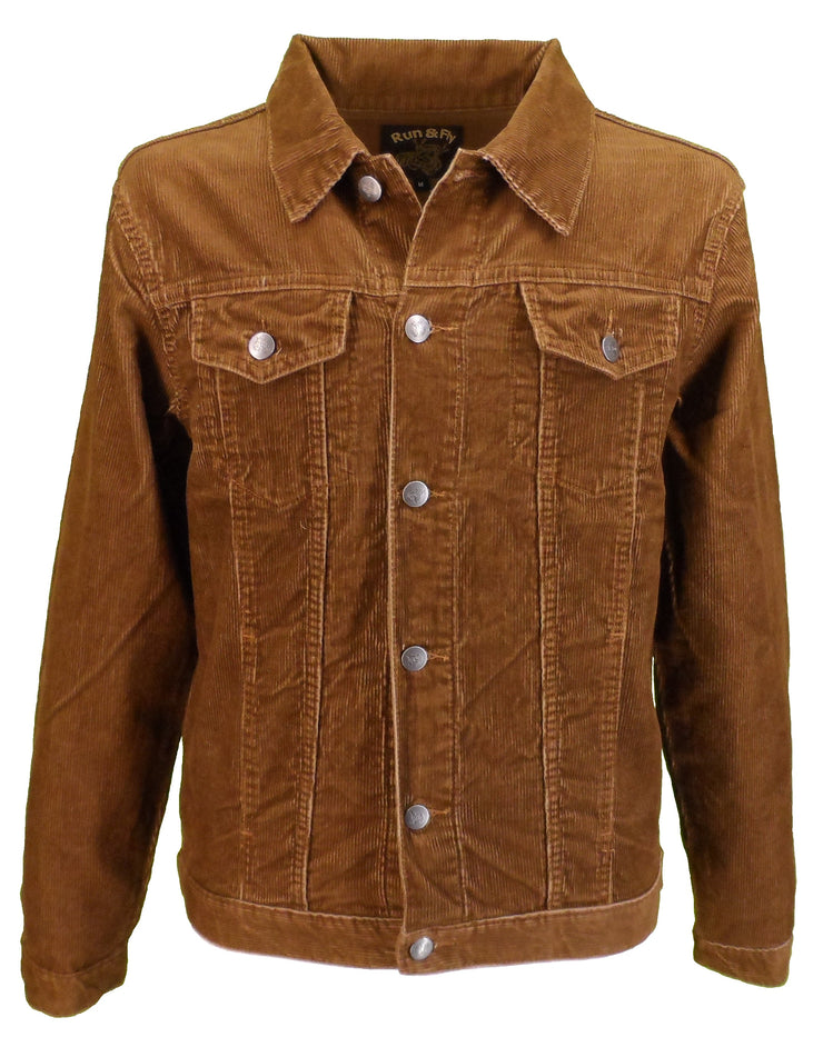 Run & Fly Mens 60s Retro Vintage Tan Cord Western Trucker Jacket