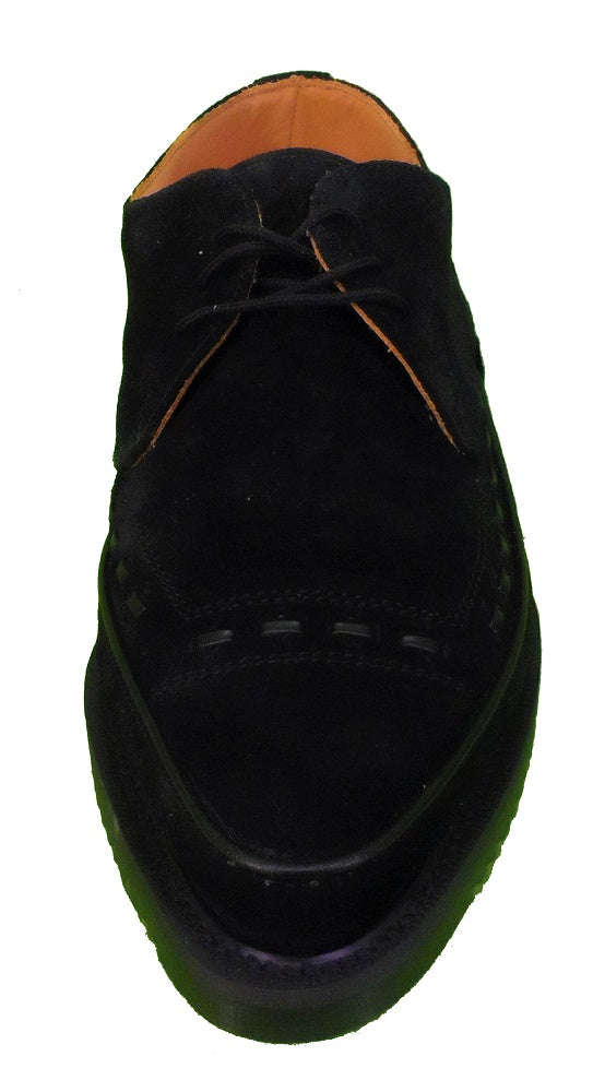George Cox Classic Black Suede Leather Lace up Creepers …