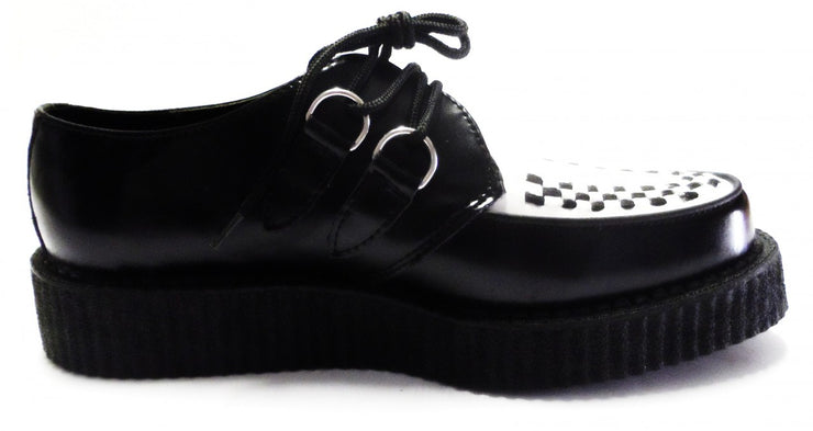 Classic Rockabilly Black & White T.U.K. Leather Creepers
