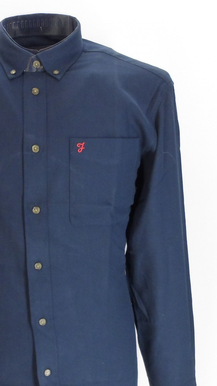 Farah Navy Selby Cotton Long Sleeved Retro Mod Button Down Shirts