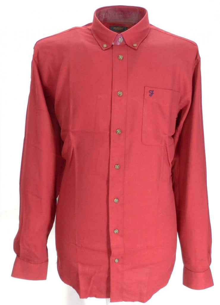 Farah Maroon Selby Cotton Long Sleeved Retro Mod Button Down Shirts