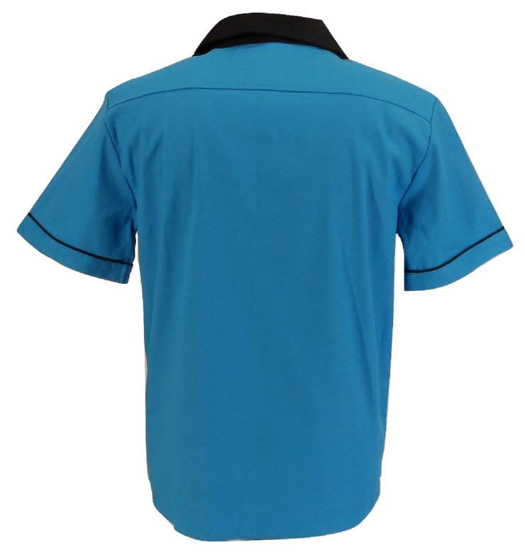 Mazeys Mens Retro Blue Rockabilly Bowling Shirts
