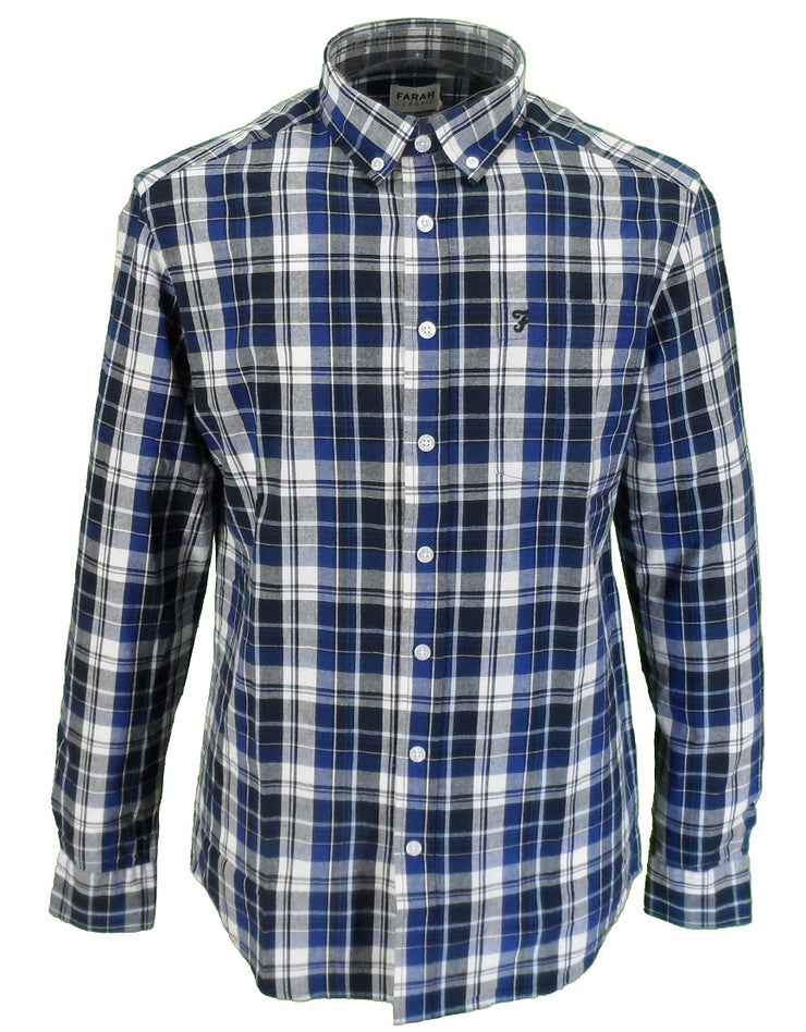 Farah Long Sleeved Navy Checked Button-Down Shirts