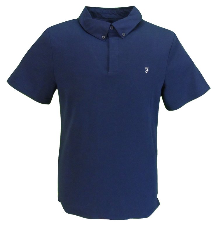 Farah Mens Navy Button Down Polo Shirt …