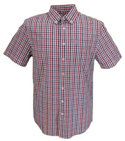 Farah Mens Red, White & Blue Gingham Check 100% Cotton Short Sleeved Shirt