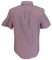 Farah Mens Pink & Grey Check 100% Cotton Short Sleeved Shirt
