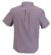 Farah Mens Rasin Red Check Short Sleeved Shirt