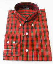 Relco Red Tartan Cotton Long Sleeved Retro Mod Button Down Shirts