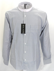 Relco Blue/White Pinstripe White Collar Grandad Long Sleeved Vintage/Retro Mod Shirt