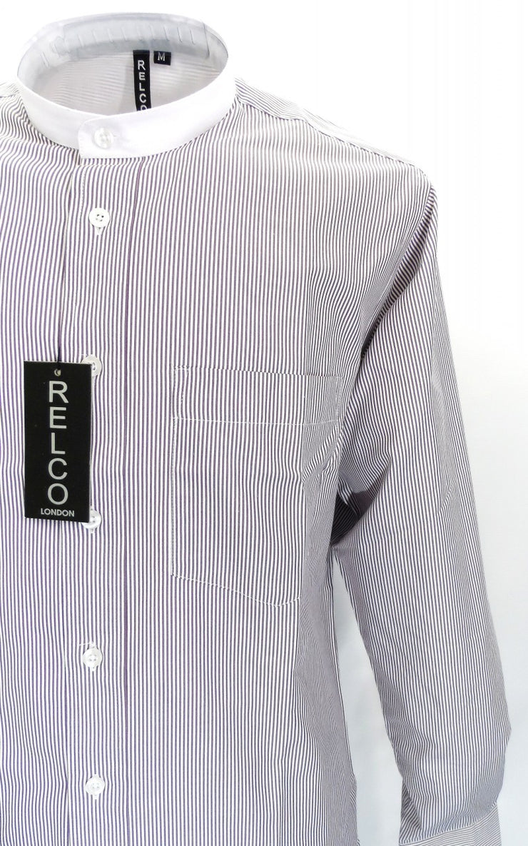 Relco Burgundy/White Pinstripe Grandad  Long Sleeved Vintage/Retro Mod Shirt