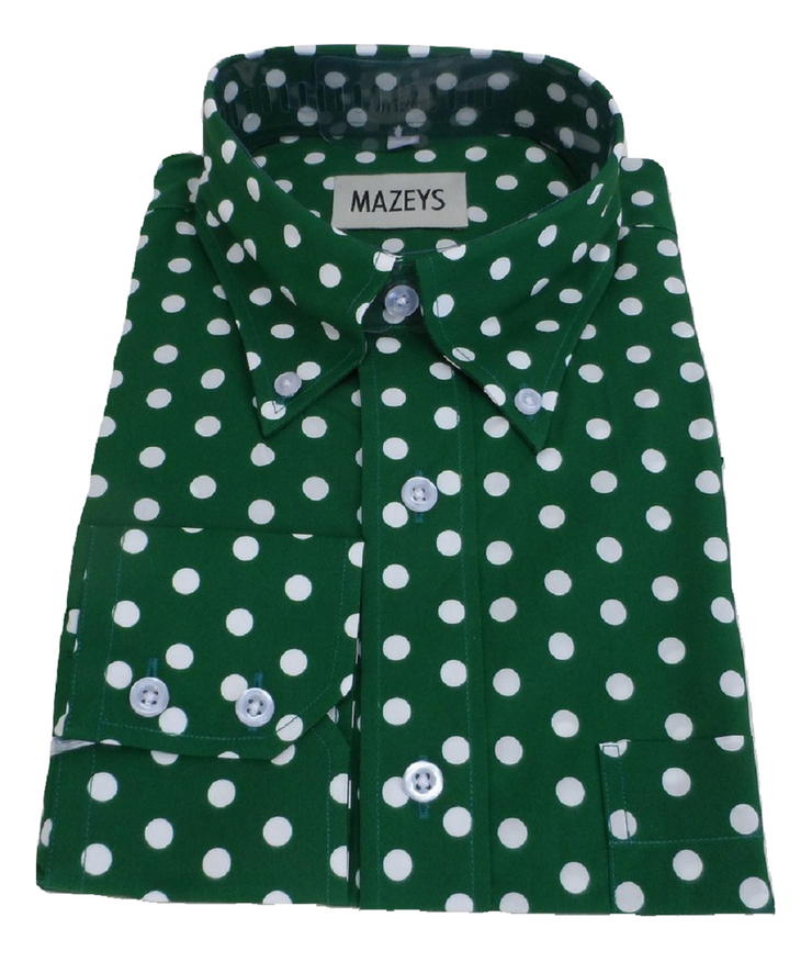 Mazeys Mens Green and White Retro Mod Polka Dot 100% Cotton Shirts…