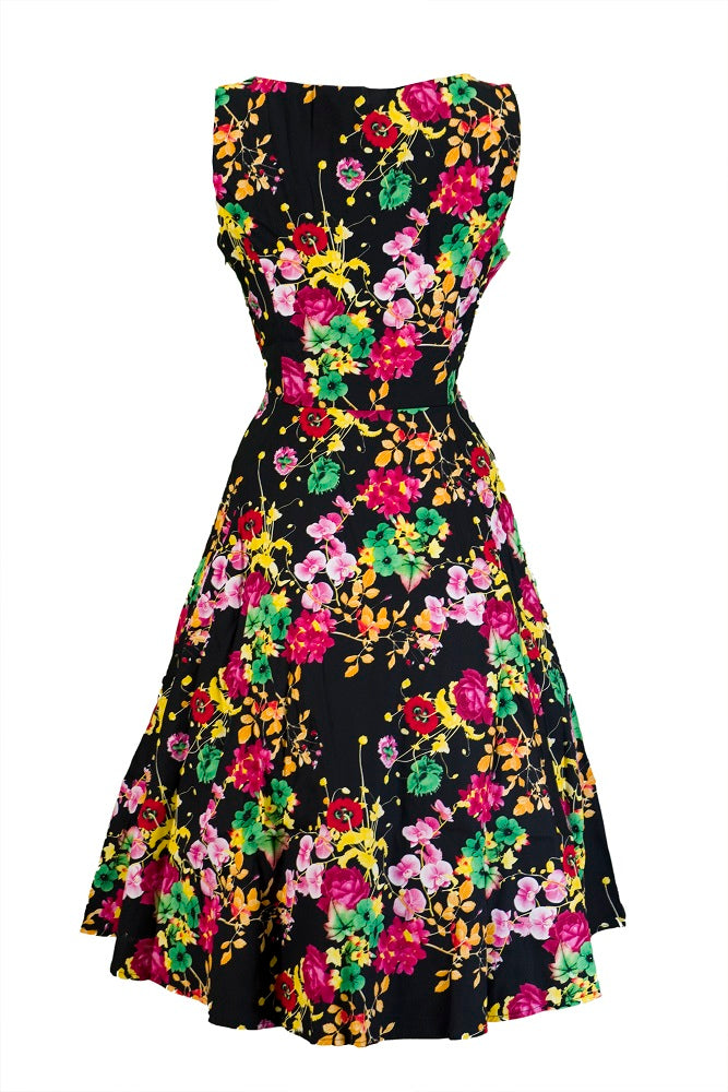 Hearts and Roses Black Vivid Floral Jive/Swing Dress