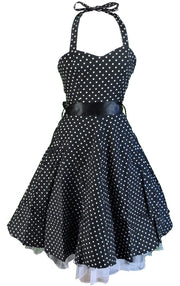 Hearts & Roses Black Polka Dot 50s Retro Swing Jive Dress