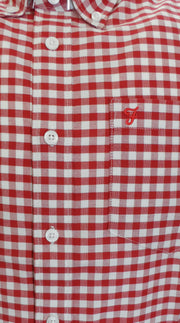 Farah Red Hardgreaves Retro Classic Gingham Short Sleeved Shirts