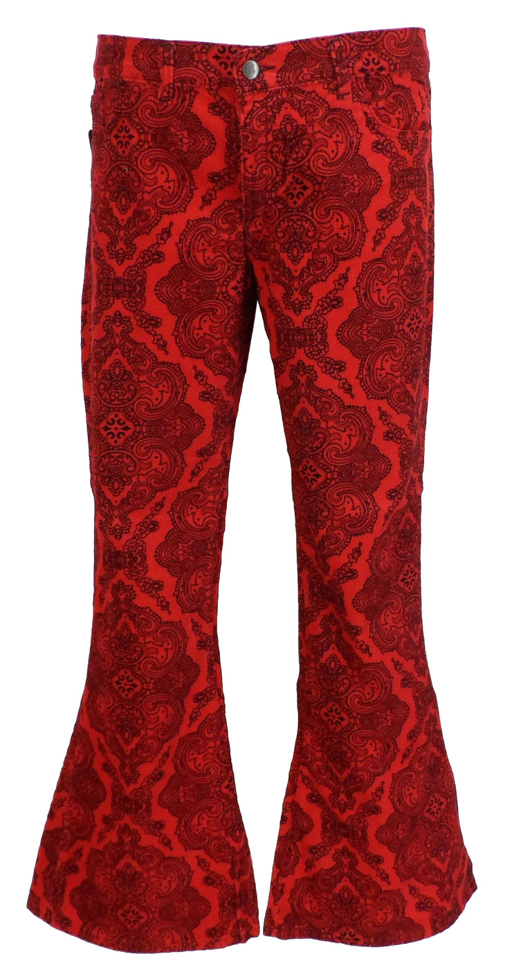 Run & Fly Mens Red Vintage Jimi Hendrix Paisley Retro Bellbottom Flares