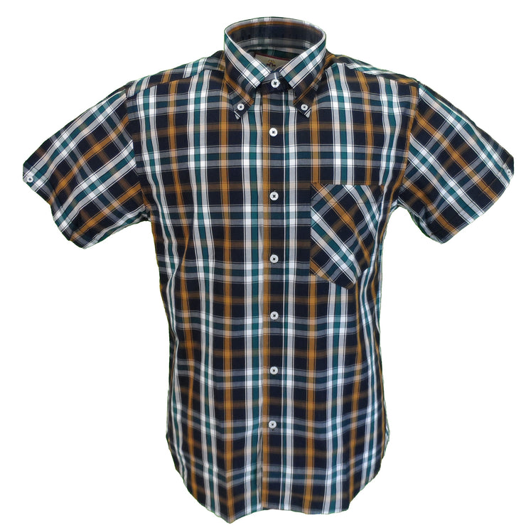 Real Hoxton Orange/Mustard Checked Short Sleeved  Button Down shirt