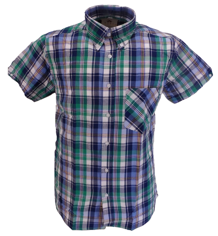Real Hoxton Blue/Green Checked Short Sleeved  Button Down shirts …