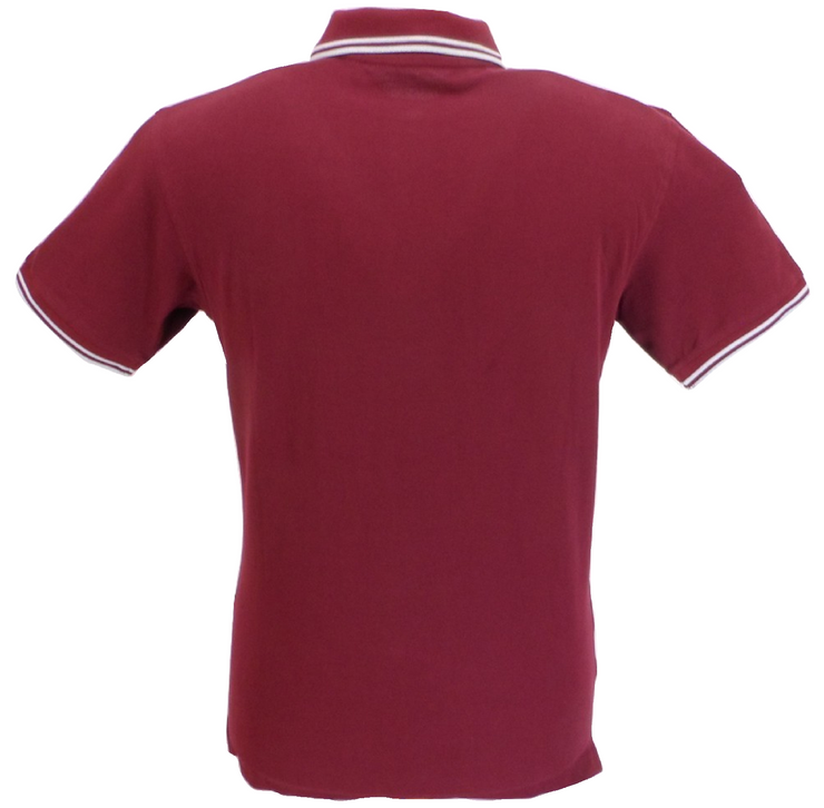 Ikon Original Burgundy/Sky Tipped 100% Cotton Polo Shirts