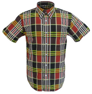 Mazeys Mens Burgundy Checked 100% Cotton Short Sleeved Shirts