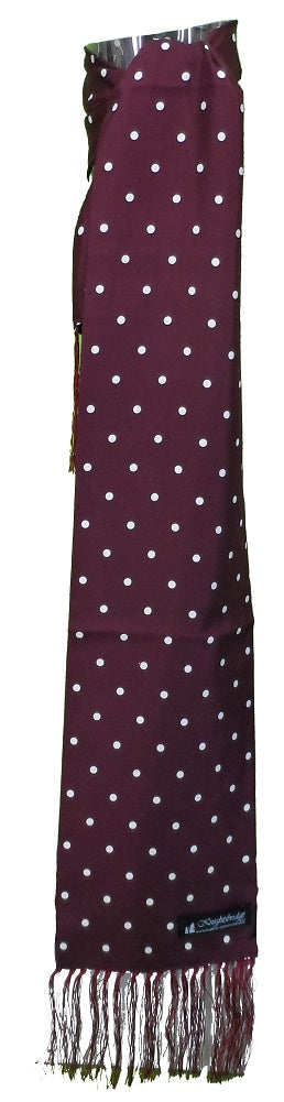 Knightsbridge Burgundy Polka Dot Mens Aviator Mod Scarf
