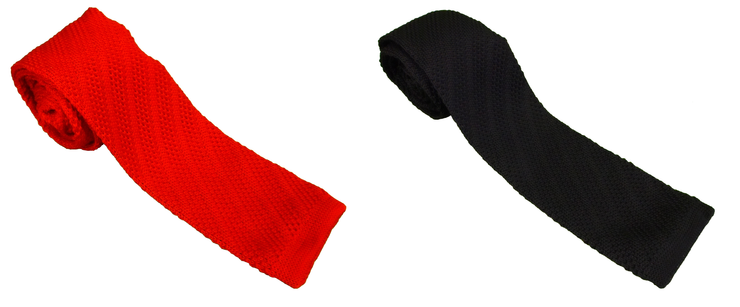 Mazeys Mens Retro Mod Square Handmade End Knitted Ties