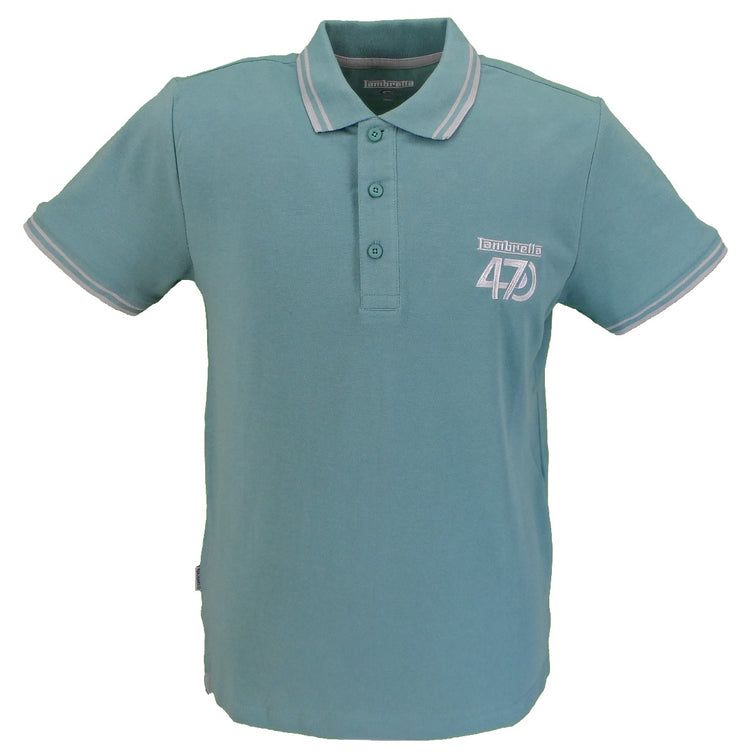 Lambretta Mens Green Haze 47 Twin Tipped Retro Polo Shirt