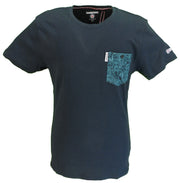 Lambretta Mens Navy Paisley Pocket T Shirts