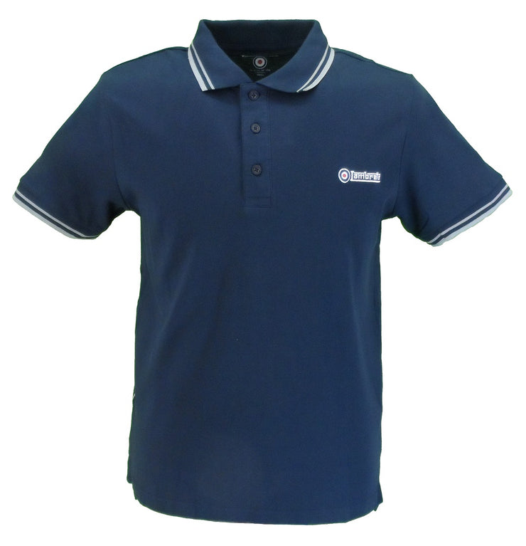 Lambretta Navy & Grey Retro Target Logo 100% Cotton Polo Shirts