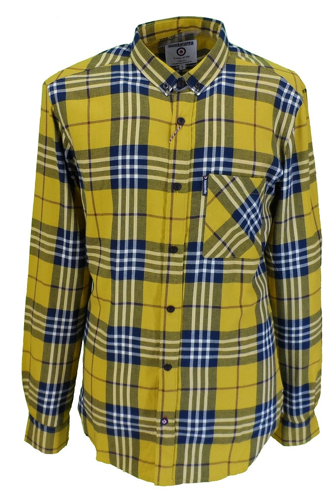 Lambretta Mens Mustard Checked Cotton Shirts