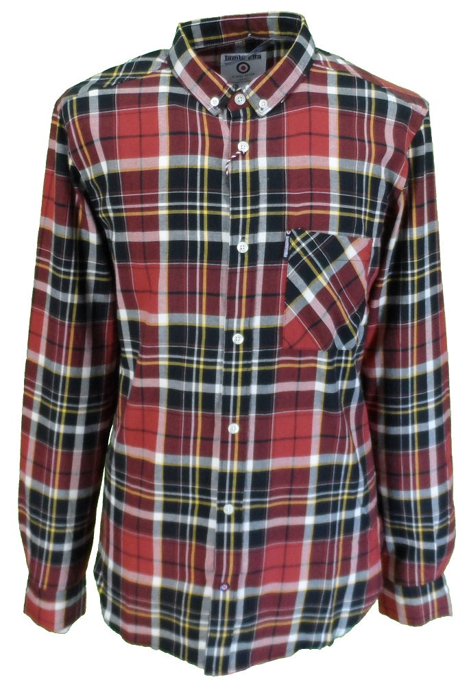 Lambretta Retro Button Down Red, Black & White Check Long Sleeved Shirt