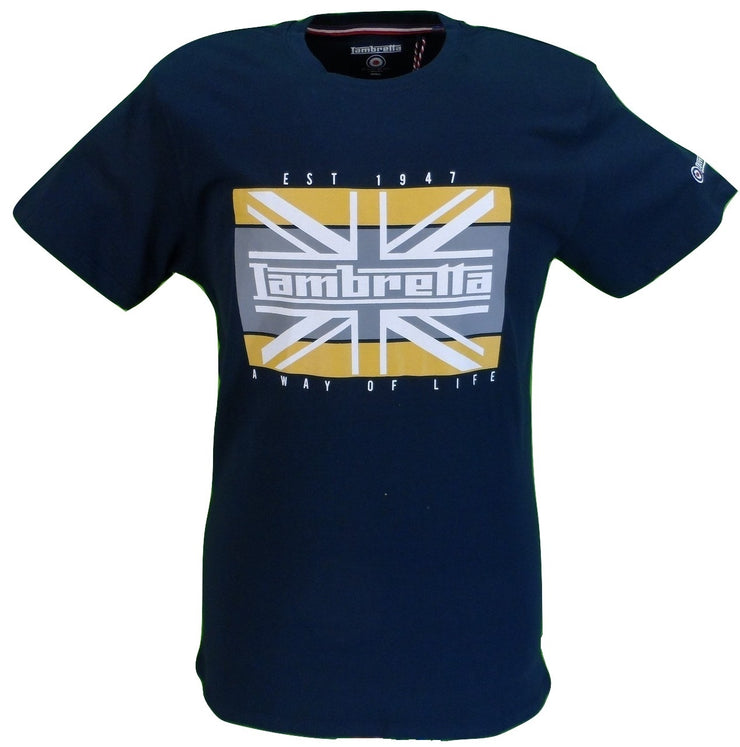 Lambretta Mens Navy Union Jack Retro 100% Cotton T Shirt