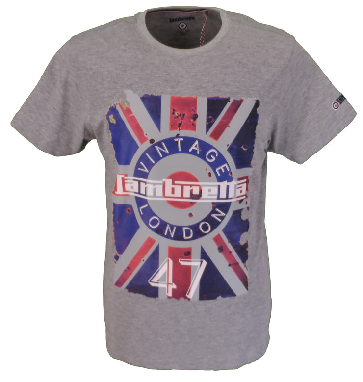 Lambretta Grey Union Jack 47 Retro 100% Cotton T Shirt