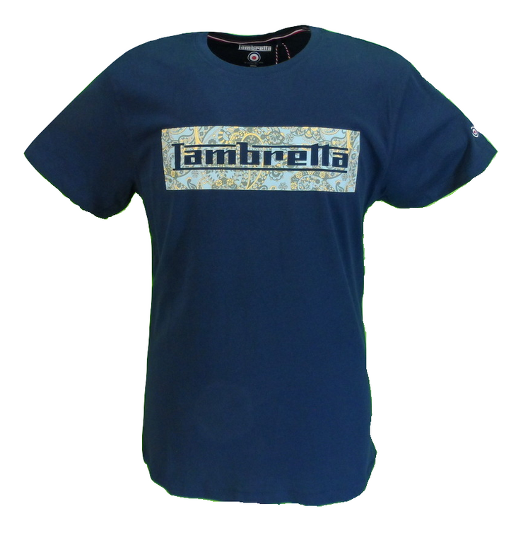 Lambretta Mens Navy Paisley Logo Retro 100% Cotton T Shirt …