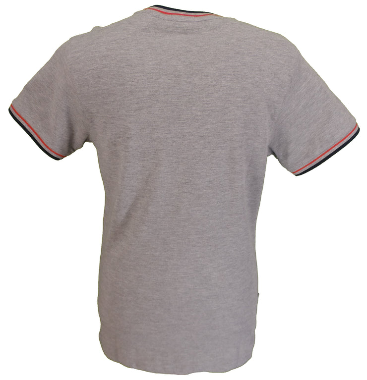 Lambretta Grey 100% Cotton Tipped Pique Retro T Shirt