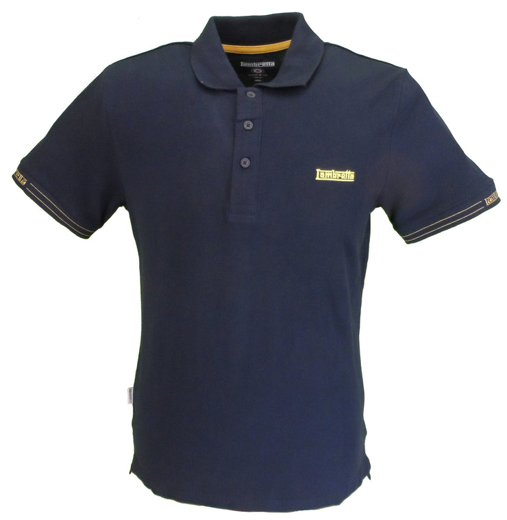 lambretta navy gold polo shirt