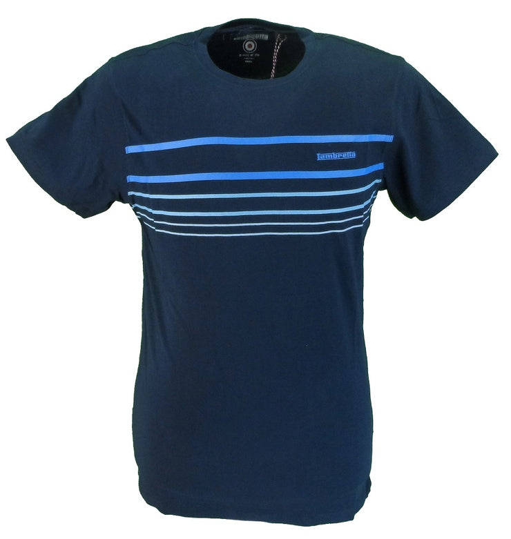Lambretta Navy Striped 100% Cotton Retro T Shirt