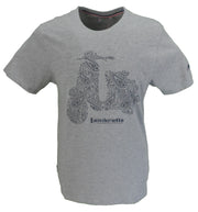 Lambretta Mens Grey Paisley Scooter Retro T-Shirt