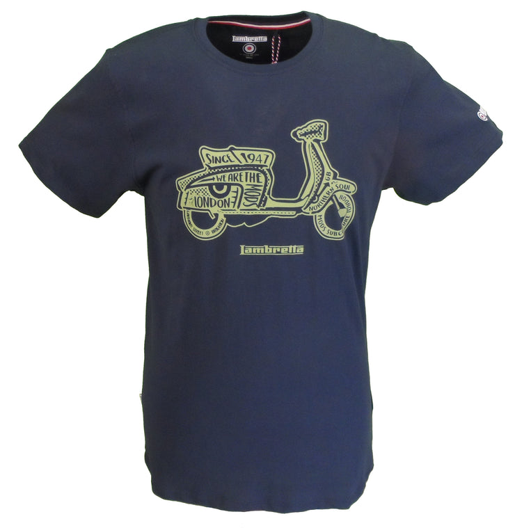 Lambretta Mens Navy Classic Logo Scooter 100% Cotton Retro T Shirt