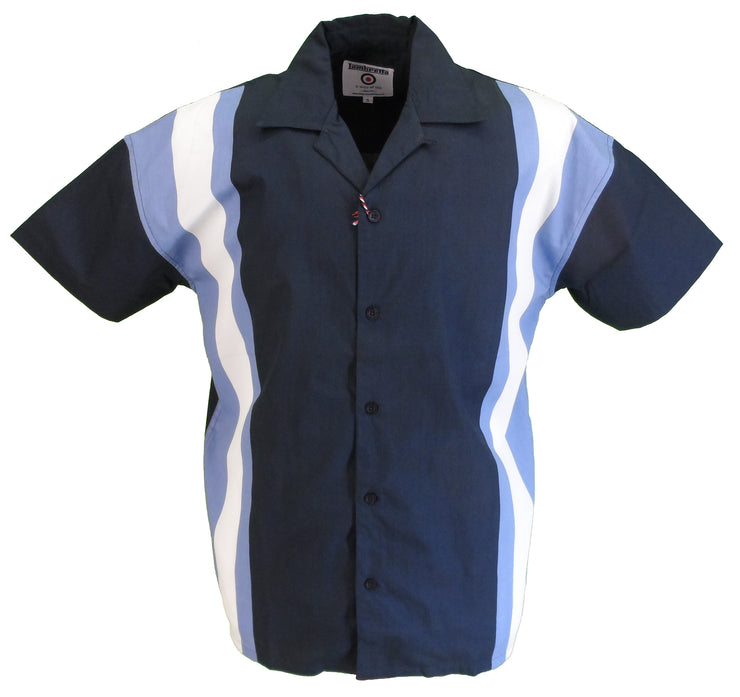 Lambretta Mens Navy Short Sleeved Bowling Shirt
