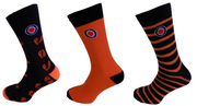 Lambretta Mens 3 Pair Pack of Black/Orange Retro Socks