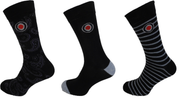 Lambretta Mens 3 Pair Pack of Black/Indigo Retro Socks