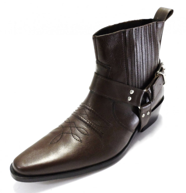 Leather Brown Western Cowboy Harness Boots
