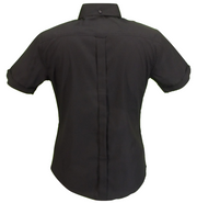 Relco Retro Black Oxford Ladies Button Down Short Sleeved Shirts