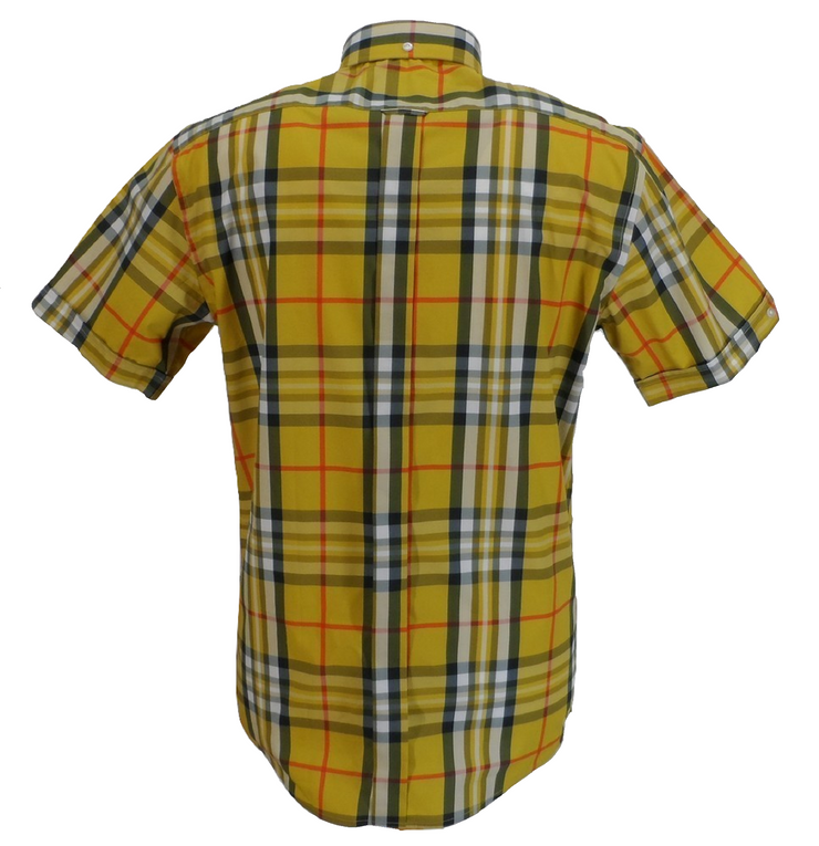 Mazeys Mens Mustard Checked 100% Cotton Short Sleeved Shirts