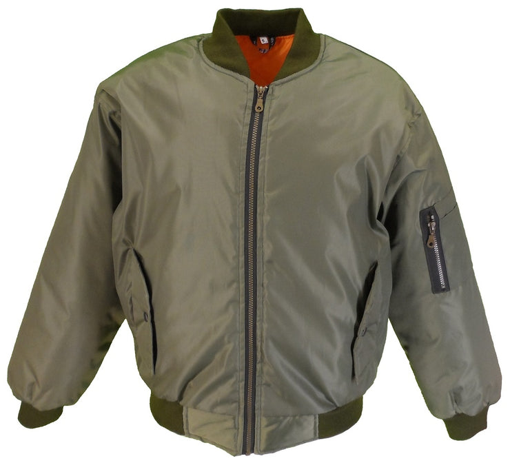 Mens MA 1 Olive Green Bomber Jacket