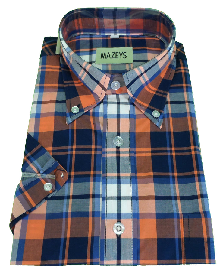 Mazeys Mens Orange Checked 100% Cotton Short Sleeved Shirts