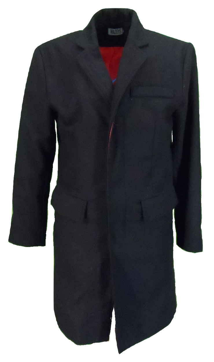 Mazeys Mens Mod Skin Coat/Overcoat With Red Lining