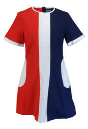Ladies Retro Mod Vintage Red White and Blue Dress