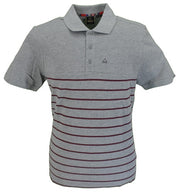 Merc London Grey Finsbury Striped Polo Shirt