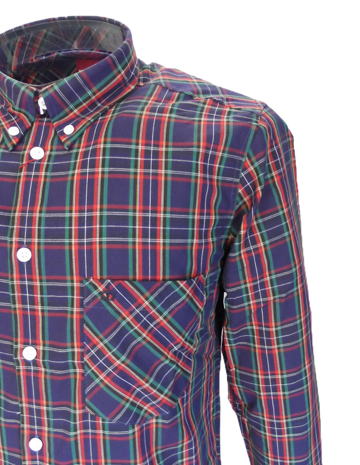 Mens Merc London /'Neddy/' Shirt Mod Retro Long Sleeved Button Down Collar